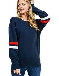 Damen Sweatshirt Pullover Casual Langarmshirt Hoodie Rundhals Kaputzenpullis Oversize Streifen Shirt Oberteil Tops