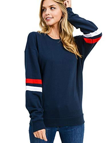 Damen Sweatshirt Pullover Casual Langarmshirt Hoodie Rundhals Kaputzenpullis Oversize Streifen Shirt Oberteil Tops(bl,s)