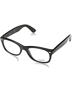Ray-Ban New Wayfarer Monturas de gafas, Rectangulares, 52, Shiny Black