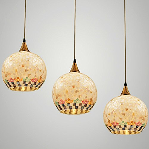 JiaYouJia Mediter Mosaic Triple Globe-Shaped Pendant Chandelier Lamp Fixtures Art 3x60W E27 (Multi Color)