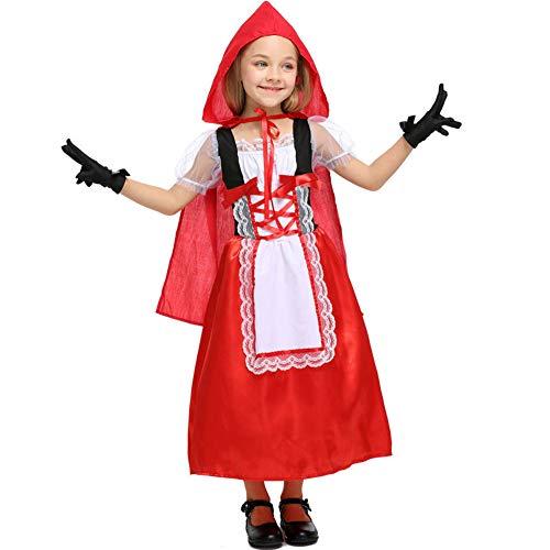 Hallowmax Mädchen Rotkäppchen Kleid Cosplay Kostüm Cartoon Karneval Halloween Garn Schleife Schleier (3 Halloween-kostüme Für Story Toy Erwachsene)