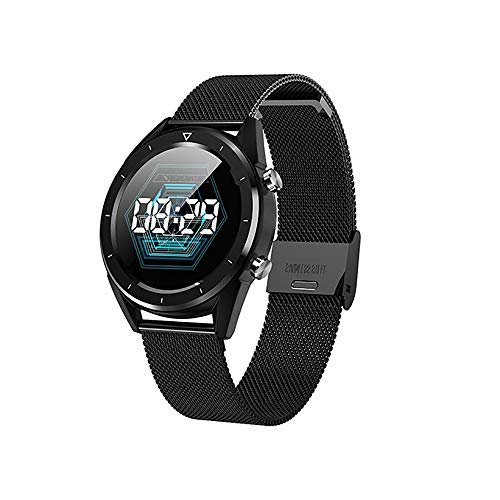 JIAX Bluetooth Smart Watch wasserdichte GPS HD Touchscreen-Informationen Drücken Sie eine Vielzahl von Sport-Modus Health Monitoring für Android/IOS Phone 4G,blacksteelbelt (Modell Altes Blackberry)