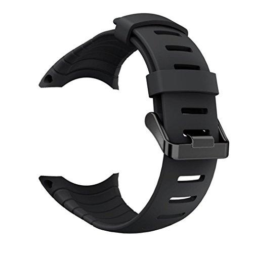 Kaiki für Suunto Core Armband,Neue Art- und Weisesport-Silikon-Armband-Bügel-Band für Suunto-Kern (Black) (Band-verschluss-organizer)