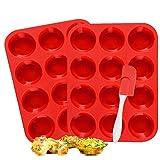 KAINI Vassoi per Muffin 12 Tazze, in Silicone, per Cupcake, (Rosso) (2PACK/Red)
