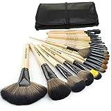 SunJas profesional 24 pcs/set Pinceles - Cepillo de maquillaje/Brush cosmética belleza & make-up mango Make Up Brush Pincel Cosmética (Madera)
