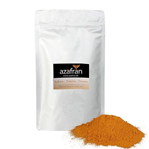 BIO-Kurkumapulver - Premium Kurkuma gemahlen (500g) von Azafran® - Ideal als Gewürz, für Goldene Milch oder zur Erstellung von Kurkuma Latte oder Paste