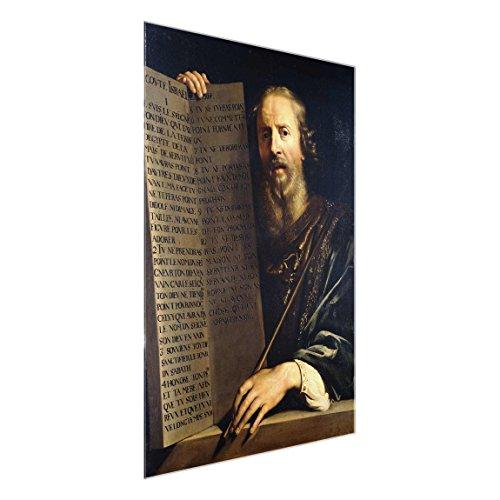 Glasbild - Kunstdruck Philippe de Champaigne - Mose hält die Tafel mit Den Zehn Geboten - Hoch 4:3, Größe HxB: 80cm x 60cm