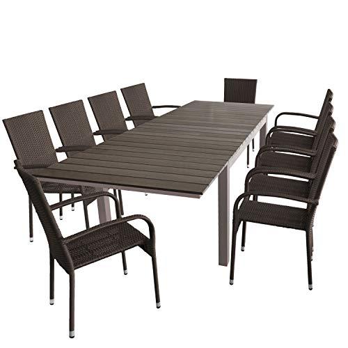 Wohaga 11tlg. Gartengarnitur Gartentisch mit Polywood-Tischplatte, ausziehbar, 160/210/260x95cm + 10x Stapelstuhl, Polyrattan, braun-meliert
