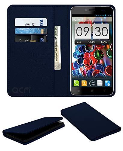 Acm Rich Leather Flip Wallet Front & Back Case for Intex Aqua Octa Mobile Flap Magnetic Cover Blue