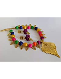 Traditional Multi Colour Silk Thread Antique Leaf Pendant Necklace With Matching Jhumka