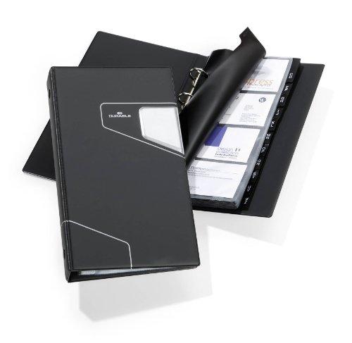 Durable 246158 Visitenkartenringbuch Visifix Pro, mit 25 Hüllen für 200 Visitenkarten, anthrazit