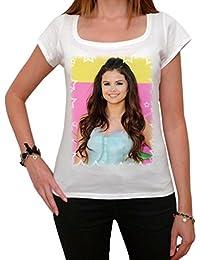 Selena Gomez, tee shirt femme, imprimé célébrité,Blanc, t shirt femme,cadeau