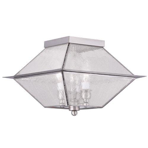 Livex Lighting 2176-91 Mansfield 3-Light Outdoor/Indoor Ceiling Mount, Brushed Nickel by Livex Lighting