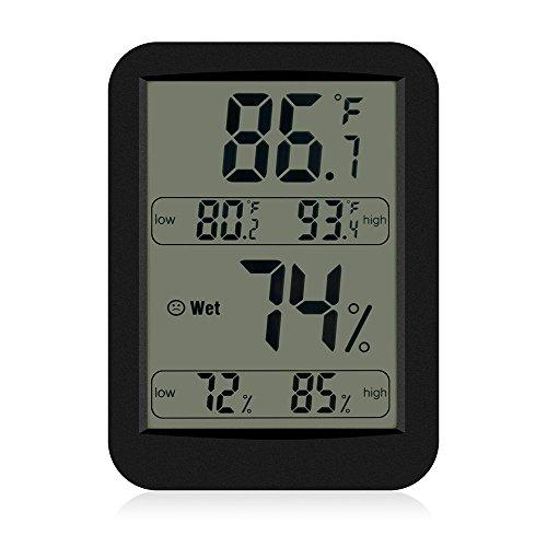 Termometro Igrometro Digitale al Coperto NuoYoUmidità Tenere sotto controllo con Display LCD Per Interno ed Esterno Temperatura con Max / Min Memoria ℃ / ℉ Interruttore – Nero miglior prezzo
