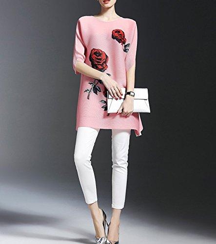 Smile YKK Femme Rétro Robe Grosse Taille Slim Moulante Impeimé Fleur Rose