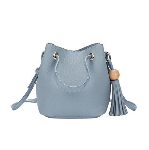 Mode Einfache Damen Tasche Pumpen Gürtel Eimer Umhängetasche Diagonalen Paket Tasche Blue1