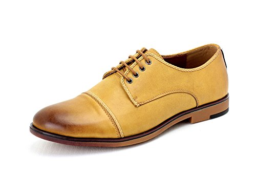 Pour Hommes Oxford Décontracté Chaussures Élégantes HabilléÀ Lacets Derby Office Mariage Brun