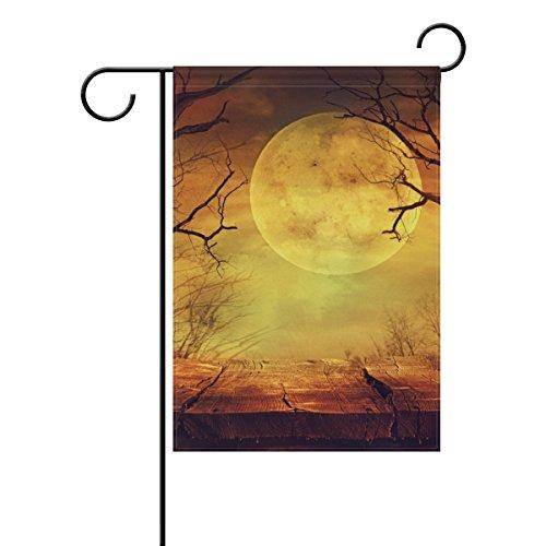 ALAZA Halloween Spooky Wald mit Vollmond Dekorative Doppelseitige Garten Flagge