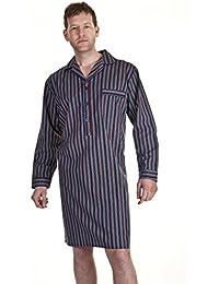 Value Heaven - Haigman chemise de nuit d'homme 100% de coton rayés à carreaux - bordeaux rayés, Medium