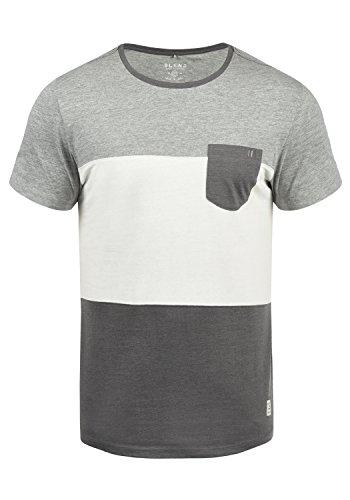 Blend Nemo Herren T-Shirt Kurzarm Shirt Streifenshirt Mit Streifen Und Rundhalsausschnitt, Größe:XXL, Farbe:Pewter Mix (70817) (Nemo Ausschnitt)