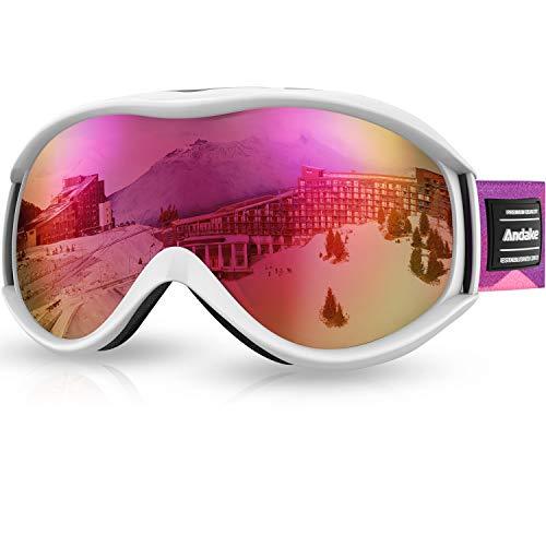 Andake Skibrille, Goggle Snowboardbrille Brillenträger Anti-Fog Anti-Kratzen/Beschlag UV400-Schutz verspiegelte sphärische Linse Schwarz Skibrille Herren Damen Erwachsener Rosa
