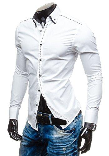 BOLF Herren Langarm Herrenhemd Figurbetont Freizeit Slim 4797 Weiß