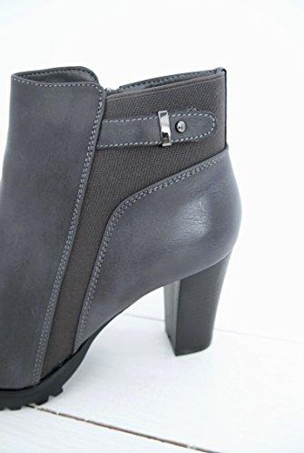 Ankle Boots Kurzschaft Stiefel Plateau Absatz Stiefelette Bootie Damen Schuhe (8345) anthrazit grau
