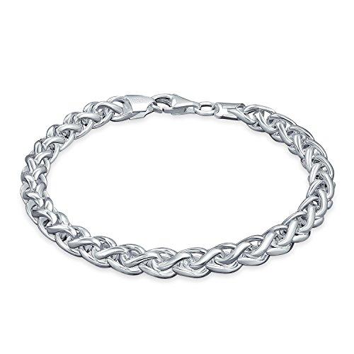 Bling Jewelry Plata estilo Bali 180 Medidor cadena trigo Mens Pulsera 8EN