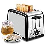 Toaster, 2 Scheiben Edelstahl Automatik Toaster Breite Schlitze, mit Herausnehmbarem Tablett für Paniermehl, 7 Farbwähler, 800W, Auftau und Reheat Tasten