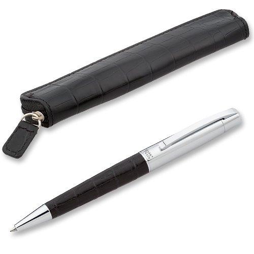 Marken-Kugelschreiber in Krokoleder-Optik schwarz mit Etui und Gravur