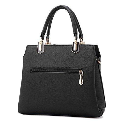 OURBAG Damen PU Leder Umhängetasche Handtasche Schultertasche Messenger Bag Rosa Schwarz