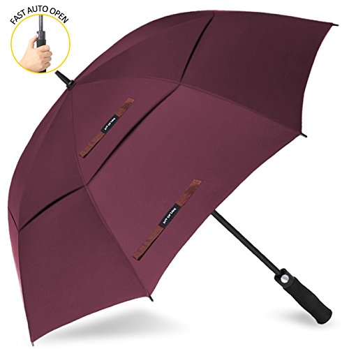 Maroon Rahmen (ZOMAKE 62 Inch Automatic Open Golf Umbrella Extra Large Oversize Double Canopy Vented Windproof Waterproof Stick Umbrellas(maroon))