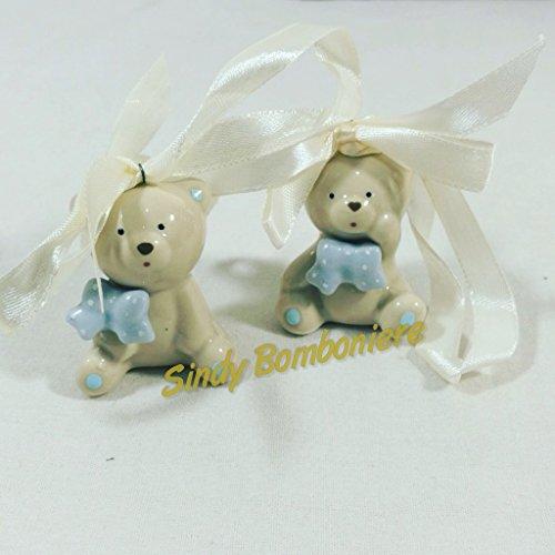 Orsetto in ceramica effetto porcellana appendino ideale per bomboniere battesimo nascita maschietto
