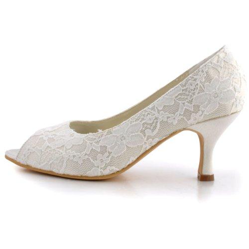 Elegantpark EP11013 Bout Ouvert Dentelle Mittler Absatz Femme Chaussures de Mariage Ivoire