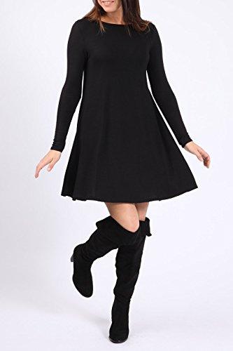 Ladies Girls Plain Robe à manches longues Swing EUR Taille 36-42 Noir
