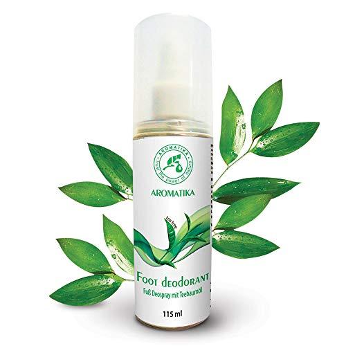 Fußspray mit 100% Natürlichem Teebaumöl und Pfefferminzduft - Fussdeo 115ml - Fußdeospray für Fußpflege und Gegen Fußgeruch - Foot Spray -