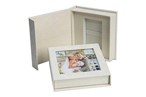 Elegantdisk Hochzeit USB-Box mit Bildfenster. Perlweiß