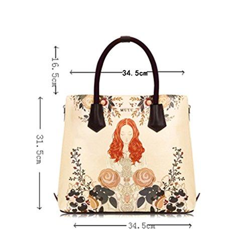 ZCJB Umhängetasche Retro Satchel Umhängetasche Druck Big Bag Paket Portable Umhängetasche Frauen Tasche ( Farbe : Kleine ) Lage