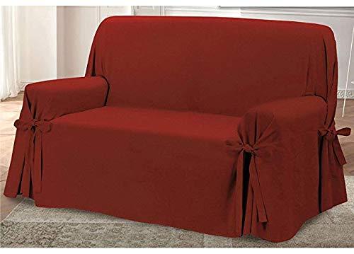 Homelife - copridivano tre posti - elegante salvadivano con lacci decorativi - telo in cotone per copertura divano e protezione da polvere, macchie e usura. alta qualità made in italy - bordeaux
