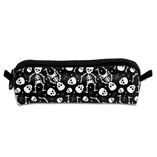 Cool Skulls Halloween Skeleton And Mexican Dia De Muerte Print Black And White Pencil Pouch Bag Stationery Pen Case Makeup Box with Zipper Closure 21 X 5.5 X 5 cm (Black Halloween-make-up Lips)