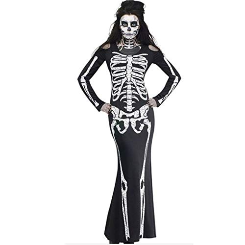 Longra Damen Skelettkostüm Damen Halloween Karneval Fasching Cosplay Kostüm Abendkleid Partykleid...