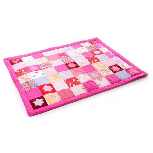 Babydecke Krabbeldecke Patchwork 140x110cm Doppelte Füllung - Beige (pink)