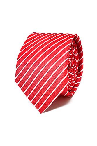 Hochwertige Gestreifte Rote und Weiße Krawatte für Herren - 100% Seide - Klassisch, Elegant und Modern - (Ideal für ein Geschenk, Männer zum Geburtstag, eine Hochzeit, bei der Arbeit...) - Krawatte Streifen