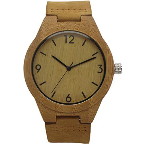 Uhren MäNner Einzigartige Natur Bambus Holz Quarz Armband Armbanduhr Mit Echtem Leder Band Holz Uhr MäNnliche Uhr Geschenk Brown Black Hand