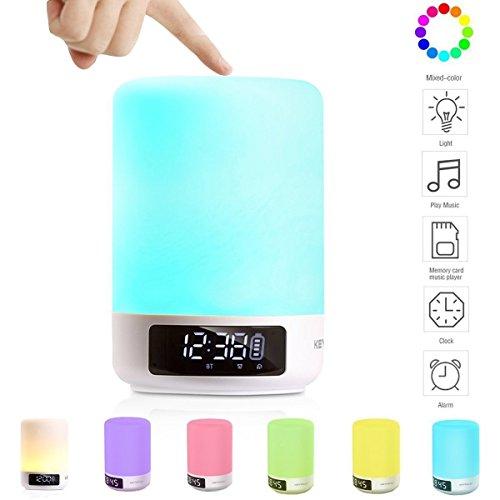 Keynice 3 en 1, reloj despertador, lamparita y altavoz bluetooth, lámpara de...