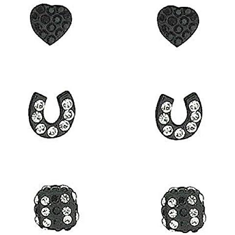 TOC in argento Sterling con ciondolo a forma di cuore e ferro di cavallo & Dice Studs-3 paia, colore: nero