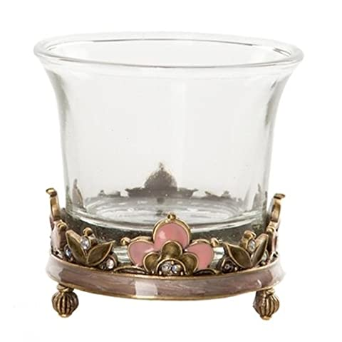 Victorian Glass Enamel & Rhinestone Tealight Candle Lantern Lamp Holder Ornament