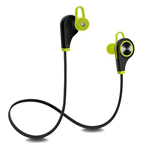 Plustore Kabellos Sports Stereo Kopfhörer Bluetooth 4.1 Noise Cancelling Handfrei In-Ear-Ohrhörer mit Mikrofon für Android, iPhone, PC und andere Smartphones für Fitness-Übung (Mini Vordere Die Öffnen Sie)