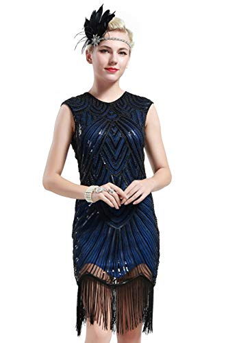 BABEYOND Damen Kleid voller Pailletten 20er Stil Runder Ausschnitt Inspiriert von Great Gatsby Kostüm Kleid  (S (Fits 68-78 cm Waist & 86-96 cm Hips), Blau) (Blau Schwarzen Kleid Halloween-kostüm)