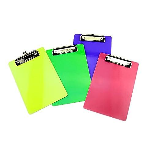 Ya Jin Lot de 4dossiers papier Clipboard Plastique documents Clip Support tableau Pad A5Taille